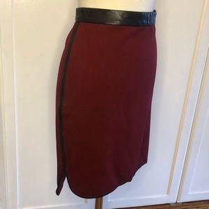 Club Monaco Pencil Skirt with Genuine Leather Trim